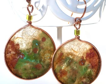 Handpainted Rice Paper and Copper Round Woodland Drop Earrings