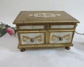 Musical Jewelry Box Vintage Florentine Gold Gilt