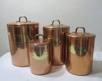 Copper Canisters Set of 4 with Brass Colored Plates and Lid Handles