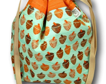 Acorns - Small Project Bag for Knitting, Crochet, or Needlework