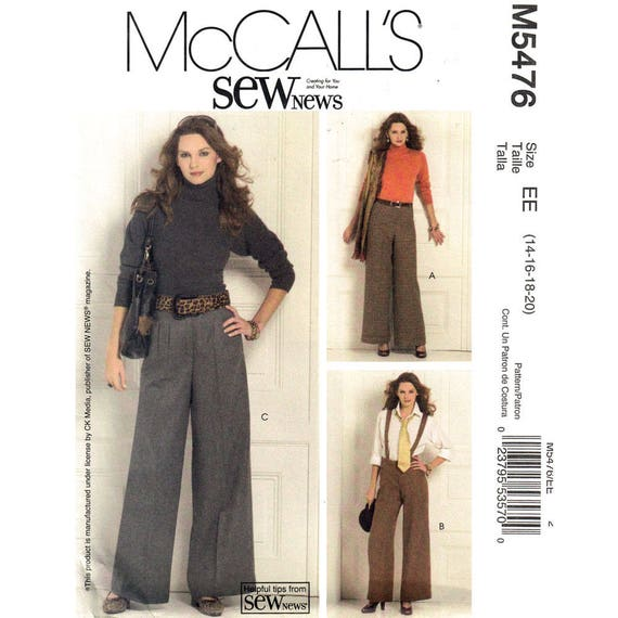 Wide Pants Pattern McCalls 5476 Suspender Flared Trousers Thin or Wide Waist Size 14 16 18 20