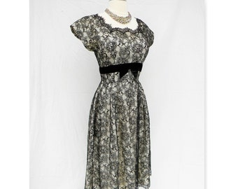 1950's Chantilly black lace overlay dress with velvet Ruths Toggery St. Louis Park  MN