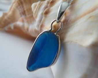 Blue Sea Glass Necklace - Genuine English Seaglass Multi Pendant & Sterling Chain - BLUEBIRD