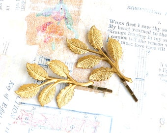 Gold Leaf Bobby Pins Gold Branch Bobby Pins Autumn Leaf Woodland Wedding Golden Leaves Fairy Nature Garden Wedding Bridal Hair Gift for Her