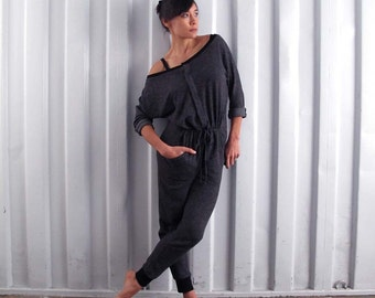 Button front jumpsuit -  Yoga clothes - yoga pants - active wear - dance wear - athleisure. Charcoal grey. Onesize