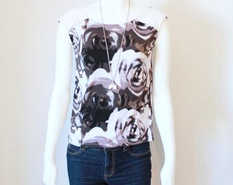 SALE Floral Print Top, Black and White Fashion, Tank Tops Women, Womens Tank Tops, Unique Fashion, Upcycled Clothing