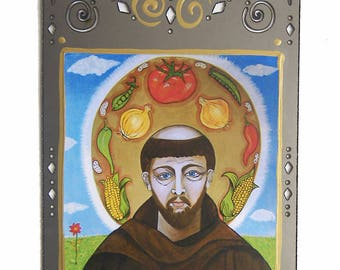 San Pasqual, The Kitchen Saint, San Pascual, Mystic, Culinary Retablo, Gift for Cook, Folk Saint, Collage on Steel, Christina Miller Artist