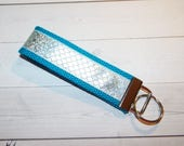 Mermaid Key FOB / KeyChain / Wristlet  - mermaid scales  metallic silver turquoise