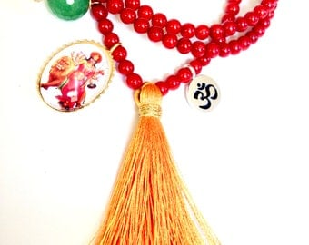 Durga mala necklace with red corals, summer inspiration jewelry, tassel necklace, durga necklace