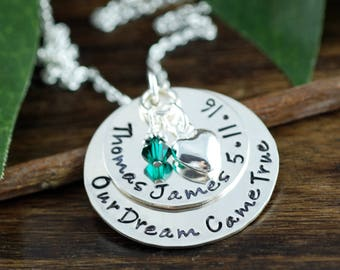 Personalized Mothers Necklace, Mom Necklace with Kids Names, Custom Hand Stamped Necklace, Swarovski Crystal Birthstone, Adoption Gift Idea