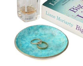 Turquoise Ring Holder, Coin Tray, Jewellery Organiser, Ring Dish, Jewellery Tray, Trinket Dishes, Decorative Bowl, Gifts for Her, Home Decor