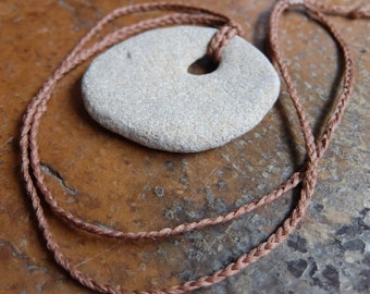 Large Hag stone / Wishing Stone jewelry. Beach pebble with natural hole as necklace.   handmade in Australia