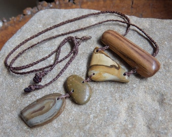 Gem stone & wood jewerly - Ribbon stone, Beach Pebble, Jasper, Hakea wood necklace ethically sourced and handmade in Australia