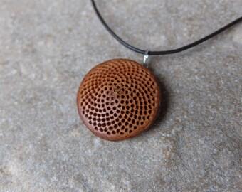 Fibonacci sequence necklace - Protea flower base handmade into natural mandala jewelry - botanical pendant - fractal jewelry
