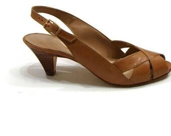 Vintage Slingbacks Vintage Peep Toe Heels Vintage Leather Heels Vintage Slingback Shoes Vintage Tan Leather Slingback Heels Vintage Heels