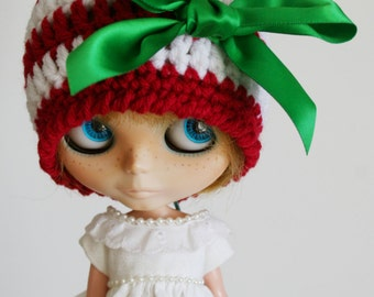 Blythe Holiday Beanie Striped Cloche with Satin Bow Traditional Christmas Colors Red White and Green