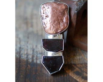 Dollybird Luster Ring Raw Garnet and Native Copper