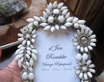 Vintage Milk Glass Rhinestone Jewelry Picture Frame Beautiful Unique Repurposed Encrusted