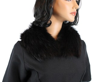 Fox Fur Collar Vintage Trim For Coat or Dress Black Pins to Attach Silk Lined Free US Shipping