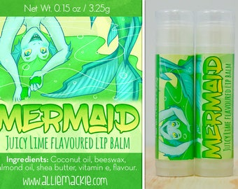 Mermaid juicy lime flavoured lip balm natural flavour
