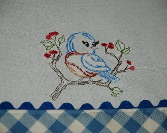 Embroidered Blue Bird Sitting On A Tree Branch Kitchen Towel