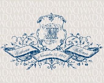 Regal Shield and Banner - Vintage Custom Wedding Monogram - Wedding Logo - Wedding Crest