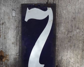 "Vintage Enamel Number 7 Plaque, French Enamel Blue and White Seven Tag 4"" x 2"""