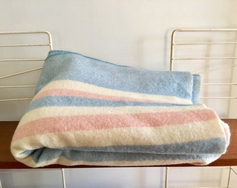 Vintage Ayers' Wool Camp Blanket Striped 1950s Midcentury Cabin Donald Mac Lean Canada