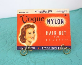 Vintage 1952 Vogue Hair Net French Style Nylon Light Brown Original Package Deadstock Never Worn