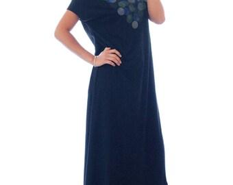 Black t-shirt dress, maxi dress ,hand-stenciled circles print