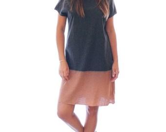 Grey shirt dress, Hand dyed Charcoal & Chestnut dress, summer dress
