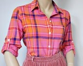 Vintage Flannel Blouse Women's Flannel Shirt Pink Plaid Long Sleeve Blouse Size Small