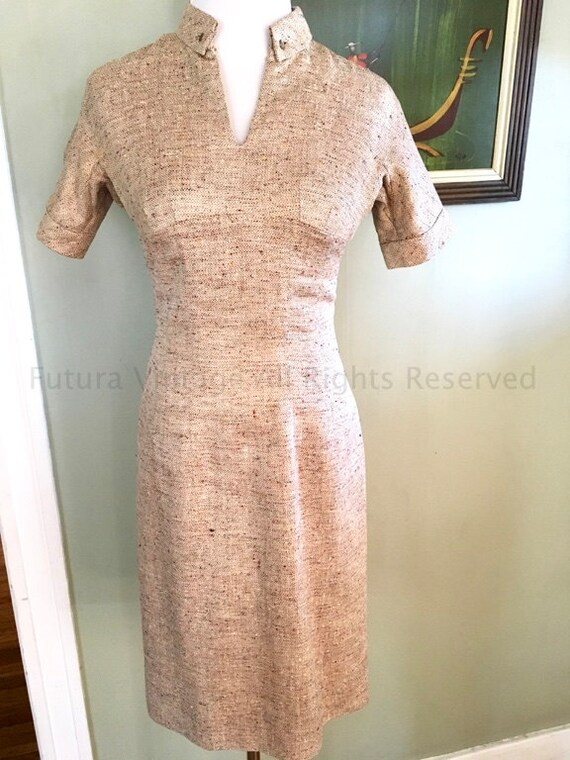 1950s ANNE FOGARTY for Neiman Marcus Gold Tone Flecked Short Sleeve Fitted Wiggle Dress-XS S