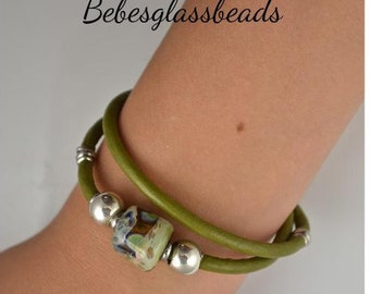 Leather Beaded Bracelet, Leather Bracelet, Boro Bead, Green Bead Bracelet, Handmade Jewelry, Woman's Bracelet, Fashion Jewelry,  small, #14