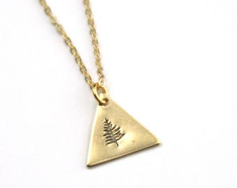 Pine Tree Necklace | Gold Brass PNW Stamped Jewelry Necklace | Adventure Jewelry | Nature Lover Gift | Tree Necklace | Bridesmaid Gifts