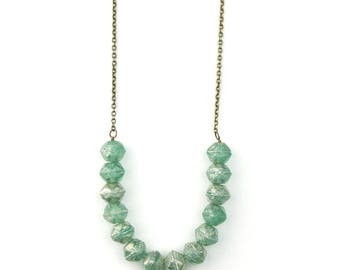 Mint Beaded Necklace | Green Beaded Jewelry | Boho Beaded Necklace | Pale Green Beads | Strand Necklace | Modern Necklace | Layering