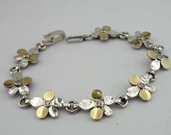 SALE! Handmade Silver flower Bracelet,Yellow Gold & 925 Sterling Silver bracelet, CZ Bracelet, Wedding bracelet, Ready to ship