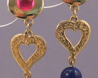 LIZ CLAIBORNE Heart Earrings / LCI Red Blue Heart Earrings / Liz Claiborne Gold Heart Earrings / Liz Claiborne Red and Blue Drop Earrings