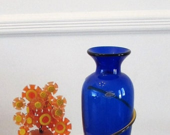 Vintage BLENKO Glass, 9907L Wrap Vase in Cobalt & Topaz  - Year 2000 - Signed by Richard Blenko