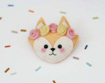 Fox Felt Brooch with Flower Crown, Handmade Felt Pin