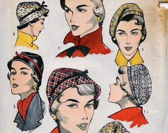 UNCUT * 1950's Advance  Pattern 5645 - -  Women's and Misses' High Fashion Hats and Beret   -- Head Size 21
