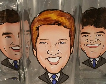 Cool Groomsmen Gift - Original Caricature Beer Mug - Hand Painted Beer Mug