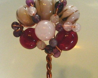 Shawl or Hair Pin Copper with Handmade Lampwork and Natural Beads, SP1