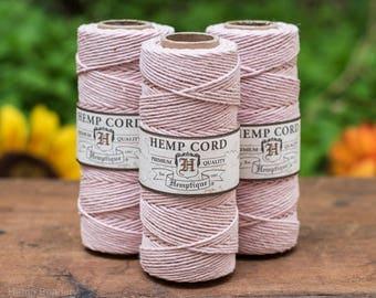 Macrame  Cord, Pink Hemp Twine,  1mm, 205 feet,  Hemp Twine,  Twine Hemp,  Powder Pink -T18
