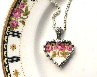 Broken china jewelry -  Nouveau rose trio - broken china jewelry heart pendant necklace
