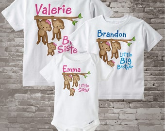 Sibling Monkey Shirt Set, Set of Three, Big Sister Shirt, Little Big Brother, Little Sister, Personalized Shirt or Onesie 04102014b