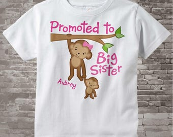 Promoted to Big Sister Shirt, Big Sister Onesie, Personalized Big Sister Shirt, Monkey Shirt with Baby Monkey (08222014e)