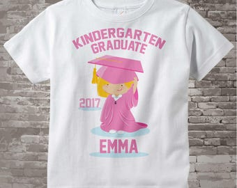 Kindergarten Graduate Shirt, Kindergarten Graduation Shirt, Personalized for your little girl with year, name and color (05122014e)