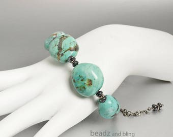Chunky Turquoise Bracelet Adjustable Stacking Bracelets Boho Jewelry Birthday Gift for Her