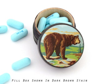 Paint by Numbers Bear Pill Box - Bear Non Toxic Vitamin Box - Bear Wedding Ring Box - Masculine Ring Box